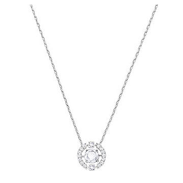 Swarovski Sparkling Dance Round Necklace, White, Rhodium Plating 5286137