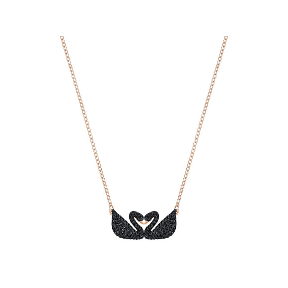 Swarovski Iconic Swan Double Necklace, Black, Rose Gold Plating 5296468