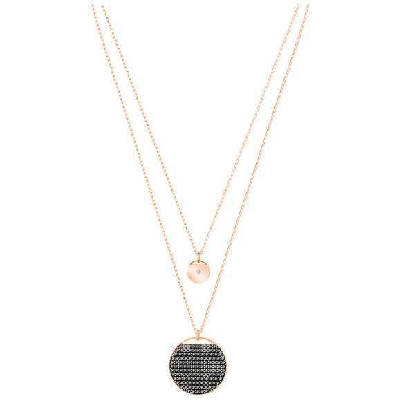 Swarovski Ginger Layered Pendant, Gray, Rose Gold Plating 5347299