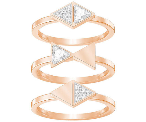 Swarovski Heroism Ring Set White Rose Gold Plating