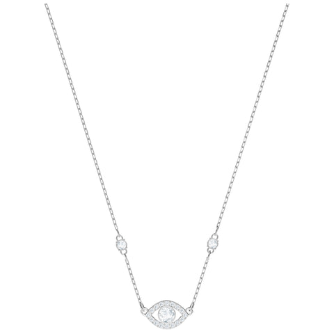 Swarovski Luckily Evil Eye Necklace, White, Rhodium plating 5368240