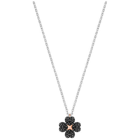Swarovski Latisha Flower Pendant, Black, Rhodium plating 5368980
