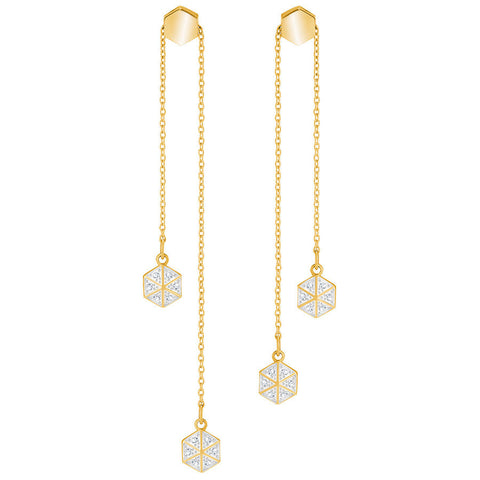 Swarovski Lisabel Pierced Earrings, White, Gold plating 5380106
