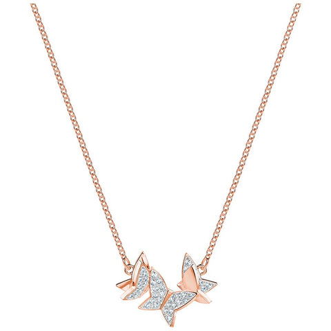 Swarovski Lilia Necklace, Small, White, Rose gold plating 5382366