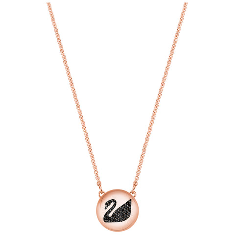 Swarovski Hall Swan Pendant, Gray, Rose gold plating 5382446