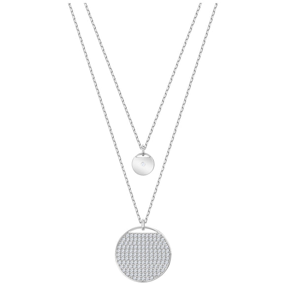 Swarovski Ginger Layered Pendant, White, Rhodium plating 5389047