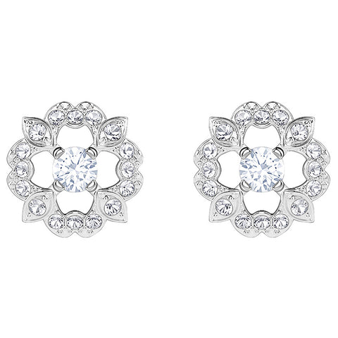 Swarovski Sparkling Dance Flower Pierced Earrings, White, Rhodium plating 5396227