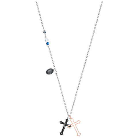 Swarovski Duo Mini Cross Pendant, Multi-colored, Mixed plating 5396881