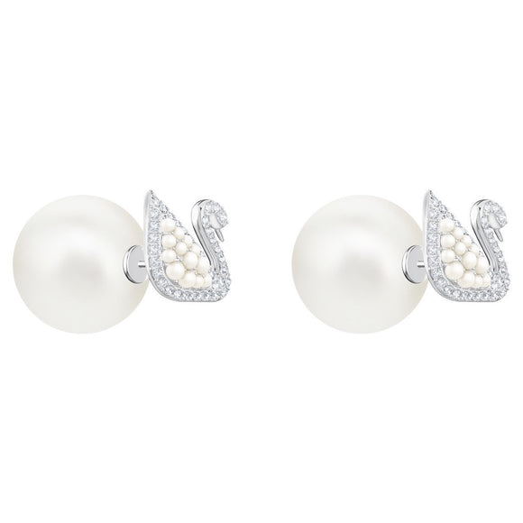 Swarovski Iconic Swan Stud Pierced Earrings, White, Rhodium Plating 5416591
