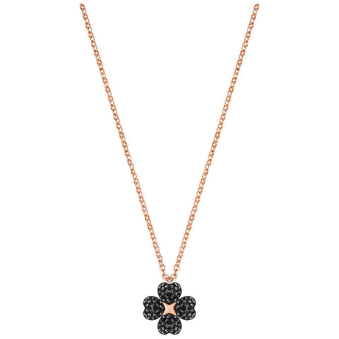 Swarovski Latisha Flower Pendant, Black, Rose gold plating 5420246