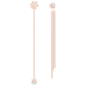Swarovski Precisely Pierced Earrings, White, Rose-gold tone plated 5496488