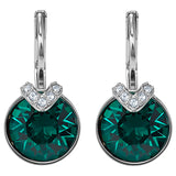 Swarovski Bella V Pierced Earrings, Green, Rhodium plated 5498876
