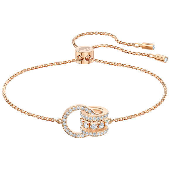 Swarovski Further Bracelet, White, Rose-gold tone plated 5501092