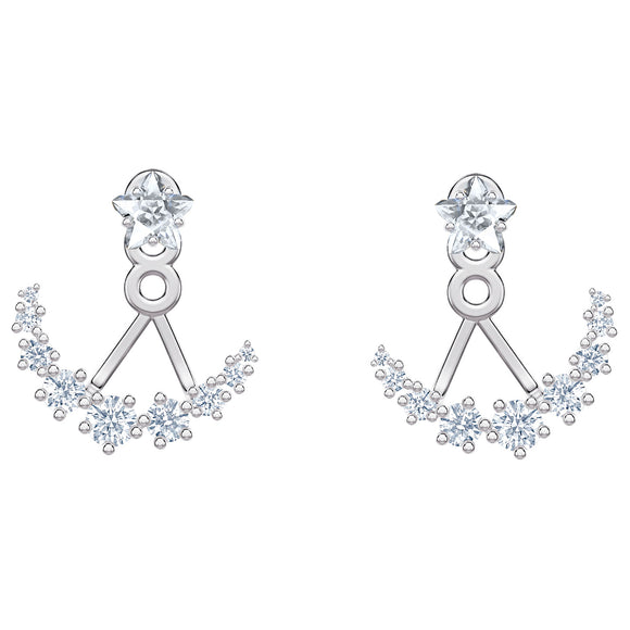 Swarovski Moonsun Pierced Earrings, White, Rhodium Plated 5508832