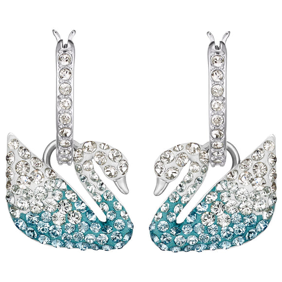 Swarovski Iconic Swan Pierced Earrings, Multi-colored, Rhodium plated 5512577