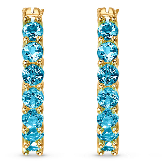 Swarovski Vittore Hoop Pierced Earrings, Aqua, Gold-tone plated 5514357