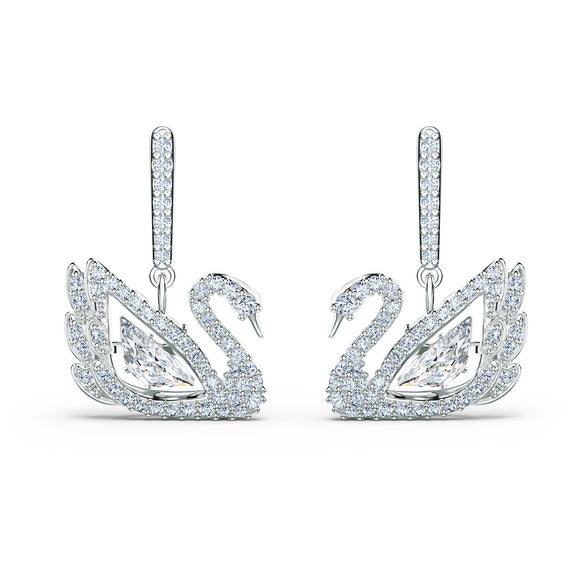 Swarovski Dancing Swan Pierced Earrings, White, Rhodium plated 5514420