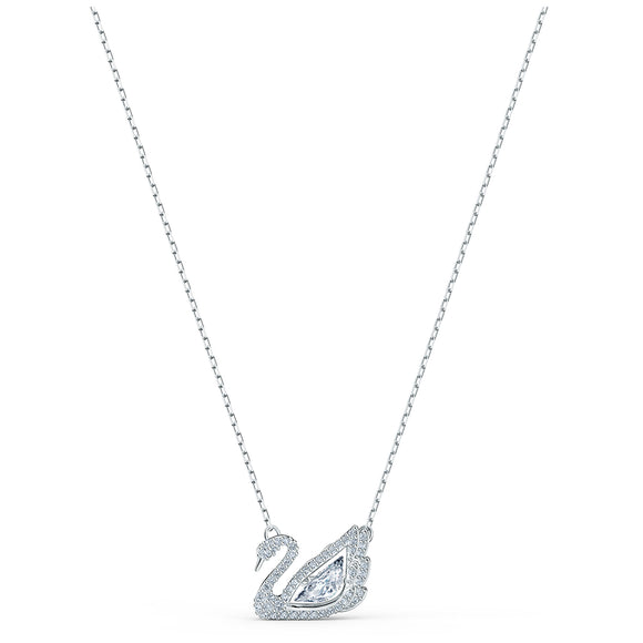 Swarovski Dancing Swan Necklace, White, Rhodium plated 5514421