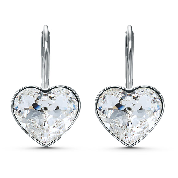 Swarovski Bella Heart Pierced Earrings, White, Rhodium plated 5515191