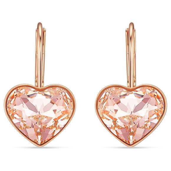 Swarovski Bella Heart Pierced Earrings, Pink, Rose-gold tone plated 5515192