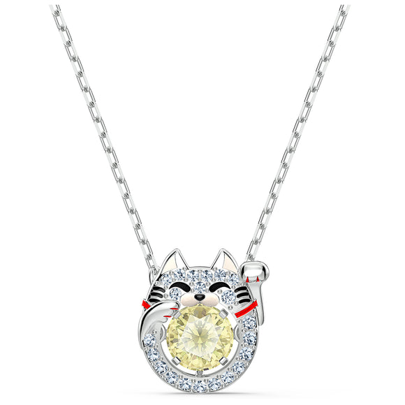 Swarovski Sparkling Dance Cat Necklace, Light multi-colored, Rhodium plated 5515438