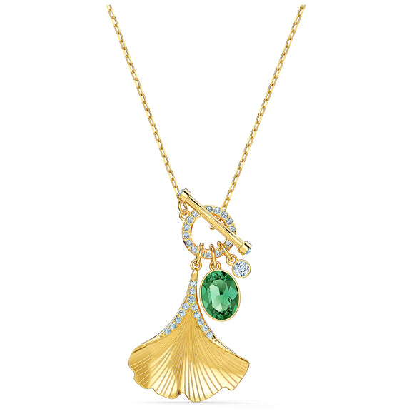 Swarovski Stunning Ginko Necklace, Green, Gold-tone plated 5515465