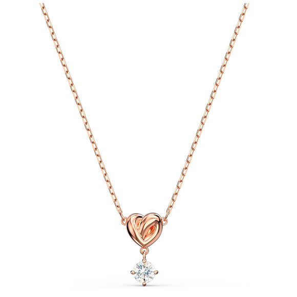 Swarovski Lifelong Heart Pendant, White, Rose-gold tone plated 5516542