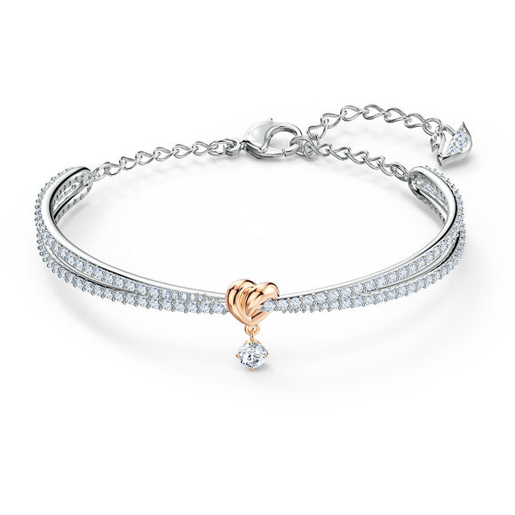 Lifelong Heart Bangle, White, Mixed metal finish 5516544