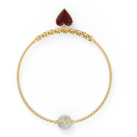 Swarovski Remix Collection Heart Strand, Red, Gold-tone plated 5517641