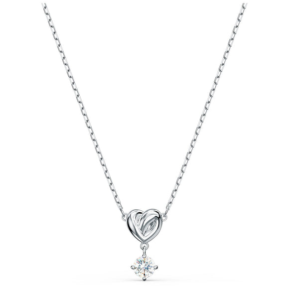 Swarovski Lifelong Heart Pendant, White, Rhodium plated 5517928