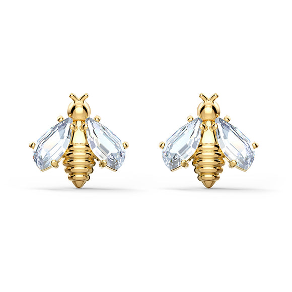 Swarovski Eternal Flower Bee Pierced Earrings, White, Gold-tone plated 5518143