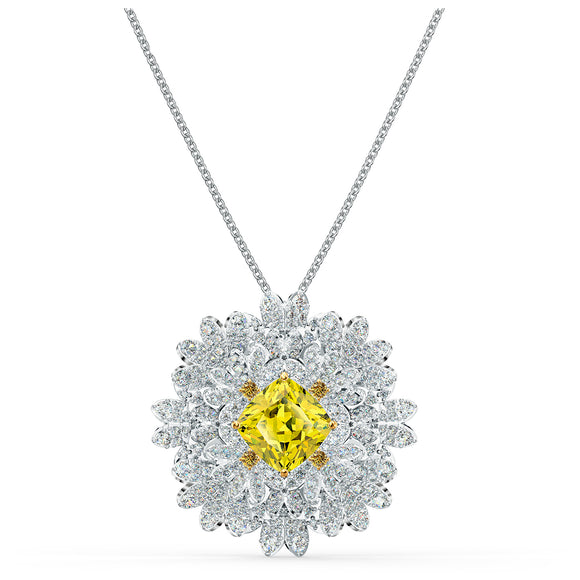 Swarovski Eternal Flower Brooch, Yellow, Mixed metal finish 5518147