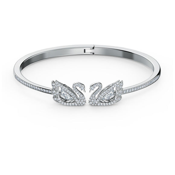Swarovski Dancing Swan Bangle, White, Rhodium plated 5520713