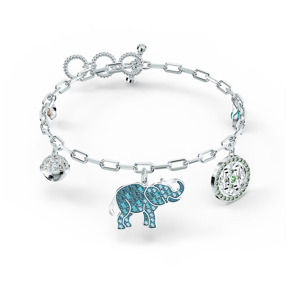 Swarovski Symbolic Elephant Bracelet, Light multi-colored, Rhodium plated 5521444