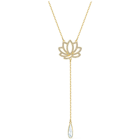 Swarovski Symbolic Lotus Necklace, White, Gold-tone plated 5521468