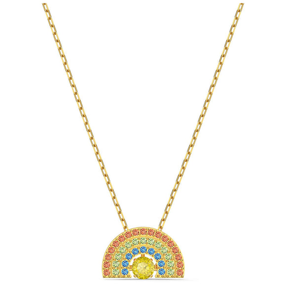 Swarovski Sparkling Dance Rainbow Necklace, Light multi-colored, Gold-tone plated 5521756