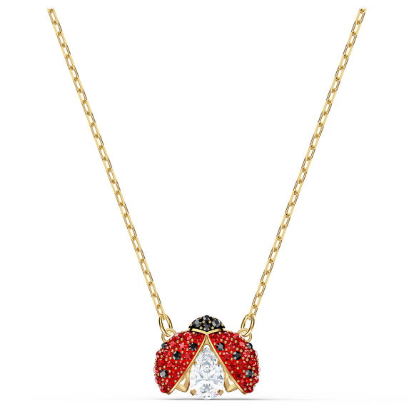 Swarovski Sparkling Dance Ladybug Necklace, Red, Gold-tone plated 5521787