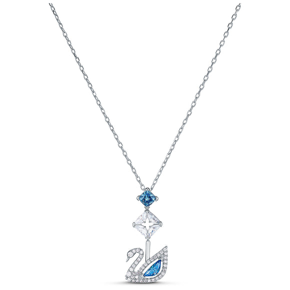 Swarovski Dazzling Swan Necklace, Blue, Rhodium plated 5530625