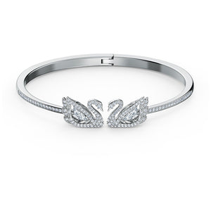 Swarovski Dancing Swan Bangle, White, Rhodium plated 5534849