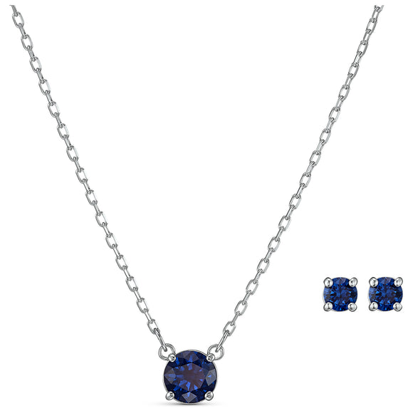 Swarovski Attract Round Set, Blue, Rhodium plated 5536554
