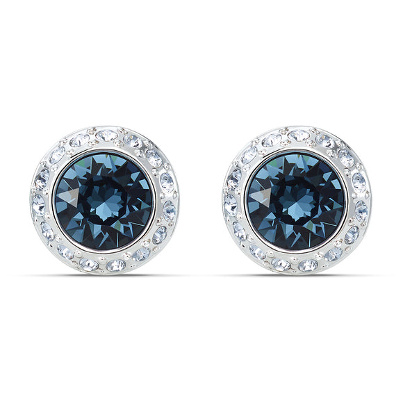 Swarovski Angelic Stud Pierced Earrings, Blue, Rhodium plated 5536770