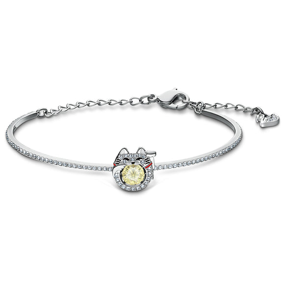 Swarovski Sparkling Dance Cat Bangle, Light multi-colored, Rhodium plated 5537487