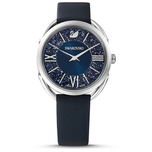Swarovski Crystalline Glam Watch, Leather strap, Blue, Stainless Steel 5537961