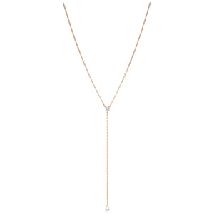 Swarovski Attract Soul Y Necklace, White, Rose-gold tone plated 5539007