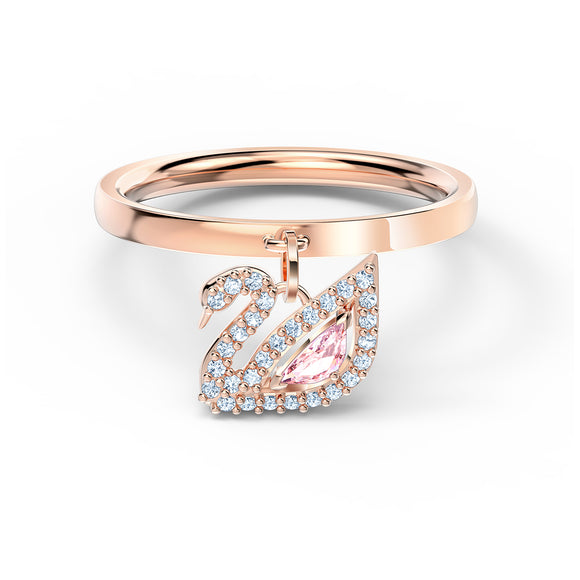 Swarovski Dazzling Swan Ring, Pink, Rose-gold tone plated 5549307