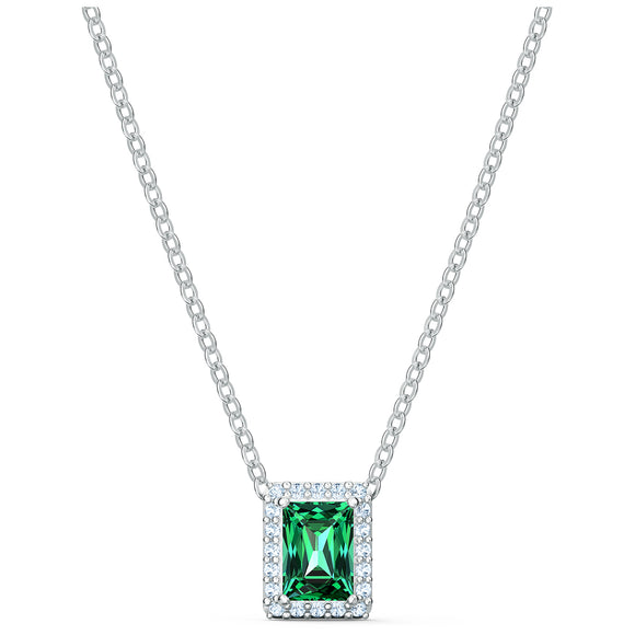 Swarovski Angelic Rectangular Necklace, Green, Rhodium plated 5559380