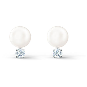 Swarovski Treasure Pearl Pierced Earrings, White, Rhodium plated 5559420