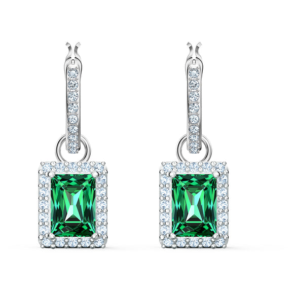 Swarovski Angelic Rectangular Pierced Earrings, Green, Rhodium plated 5559834