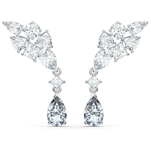 Swarovski Tennis Deluxe Cluster Mixed Pierced Earrings, White, Rhodium plated 5562086