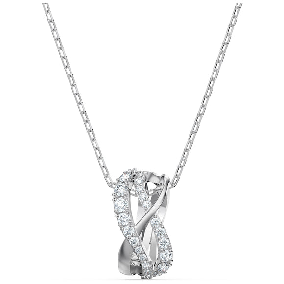 Swarovski Twist Rows Pendant, White, Rhodium plated 5563906